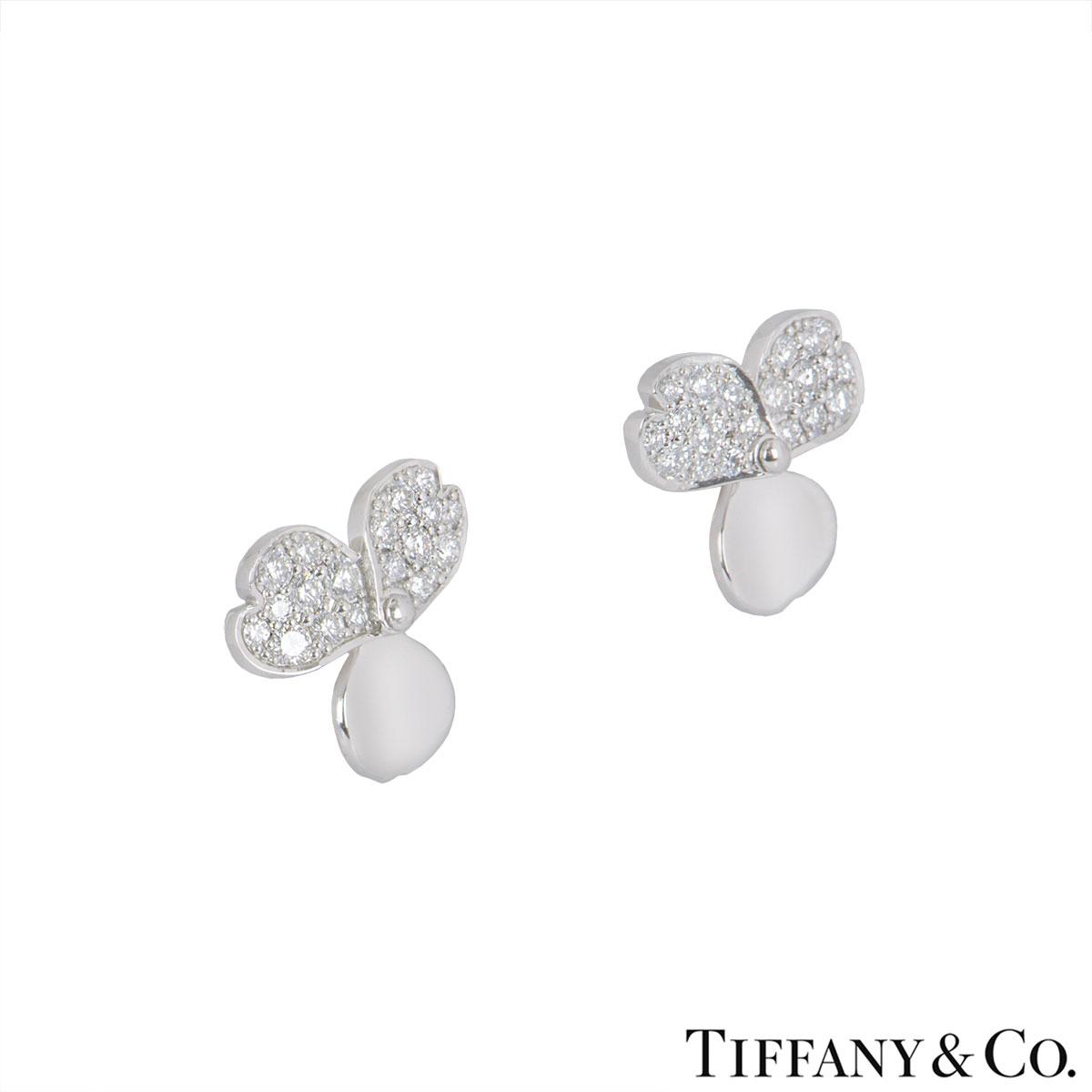 Tiffany & Co. Platinum Diamond Paper Flowers Earrings